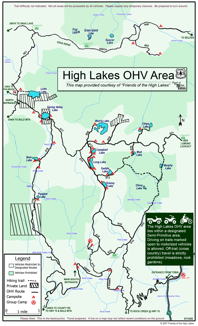 High Lakes OHV Area Northern California Second Generation - Lakes in california map